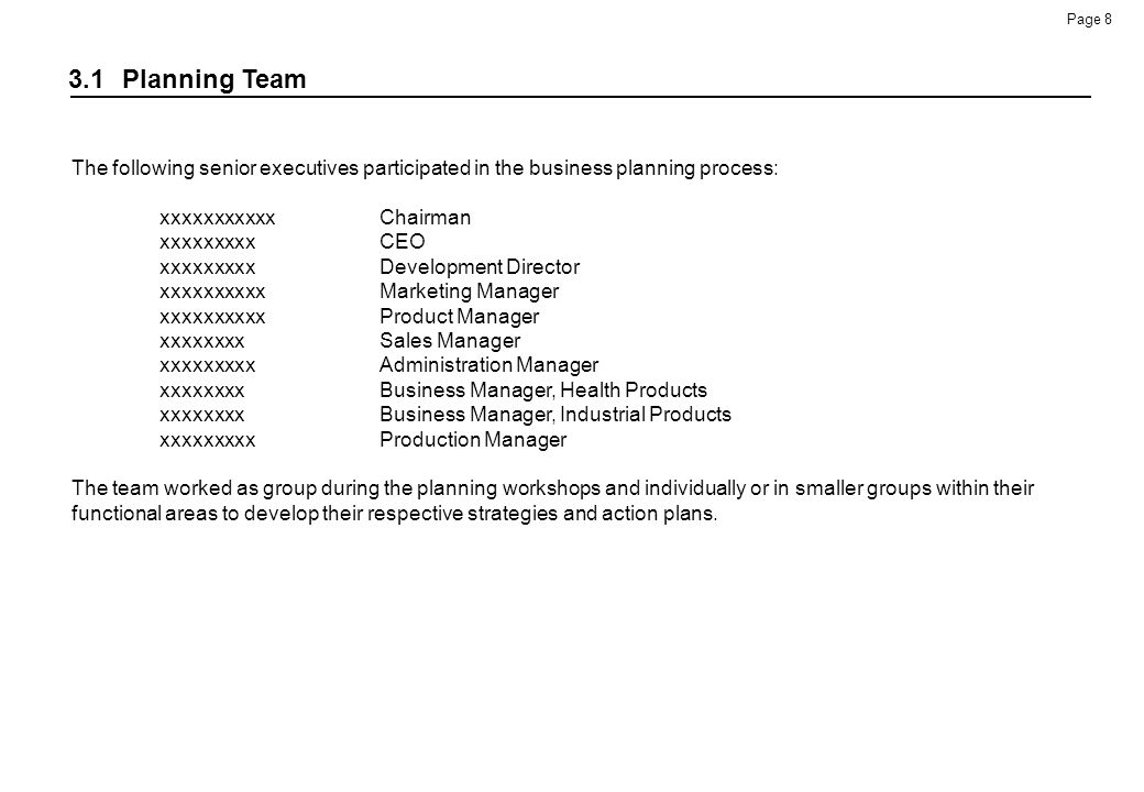 3.1 Planning Team The following senior executives participated in the business planning process: xxxxxxxxxxx Chairman.