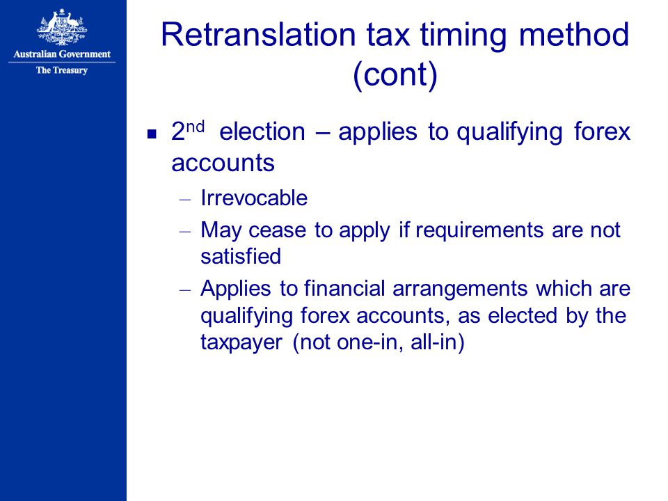 Retranslation tax timing method (cont)