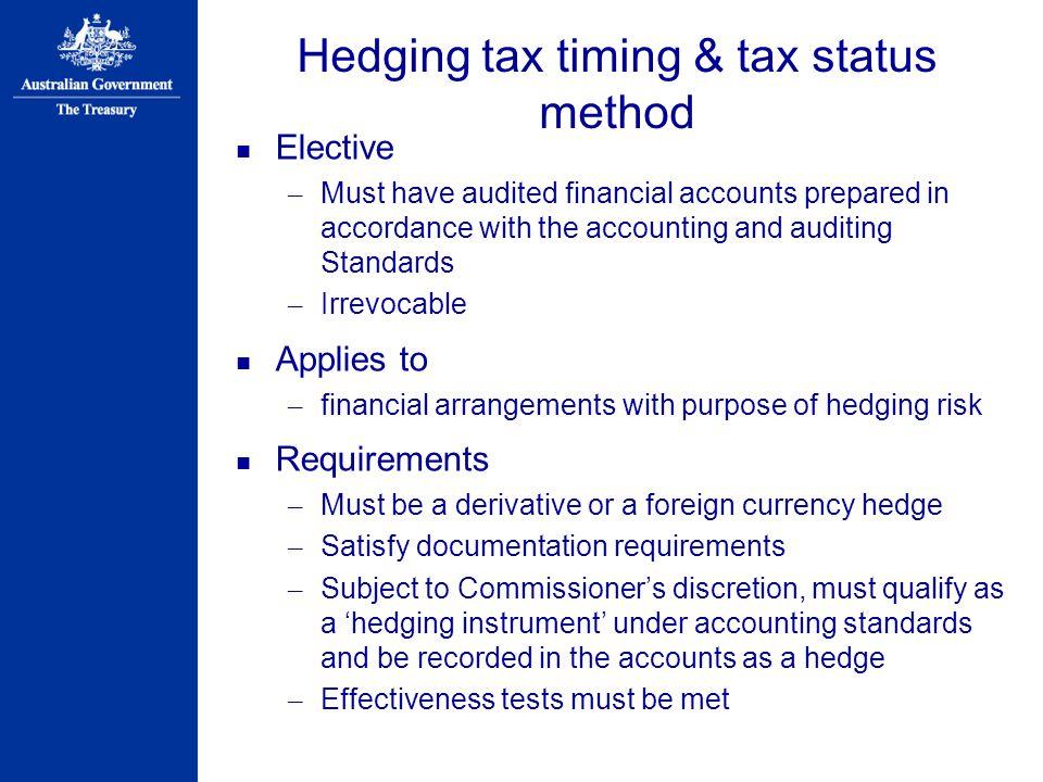 Hedging tax timing & tax status method