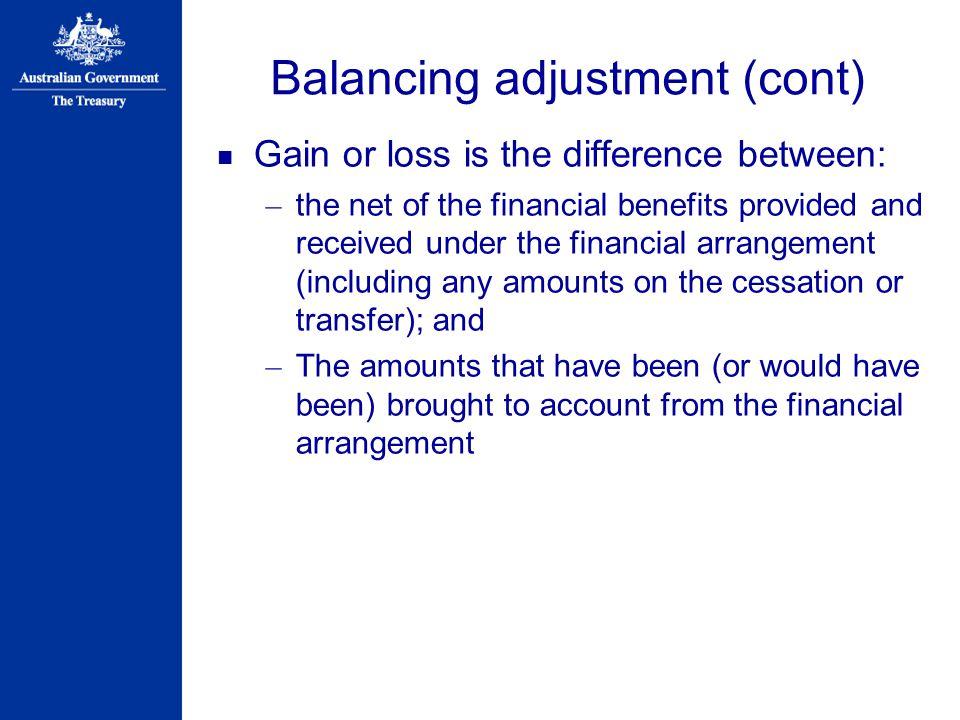 Balancing adjustment (cont)