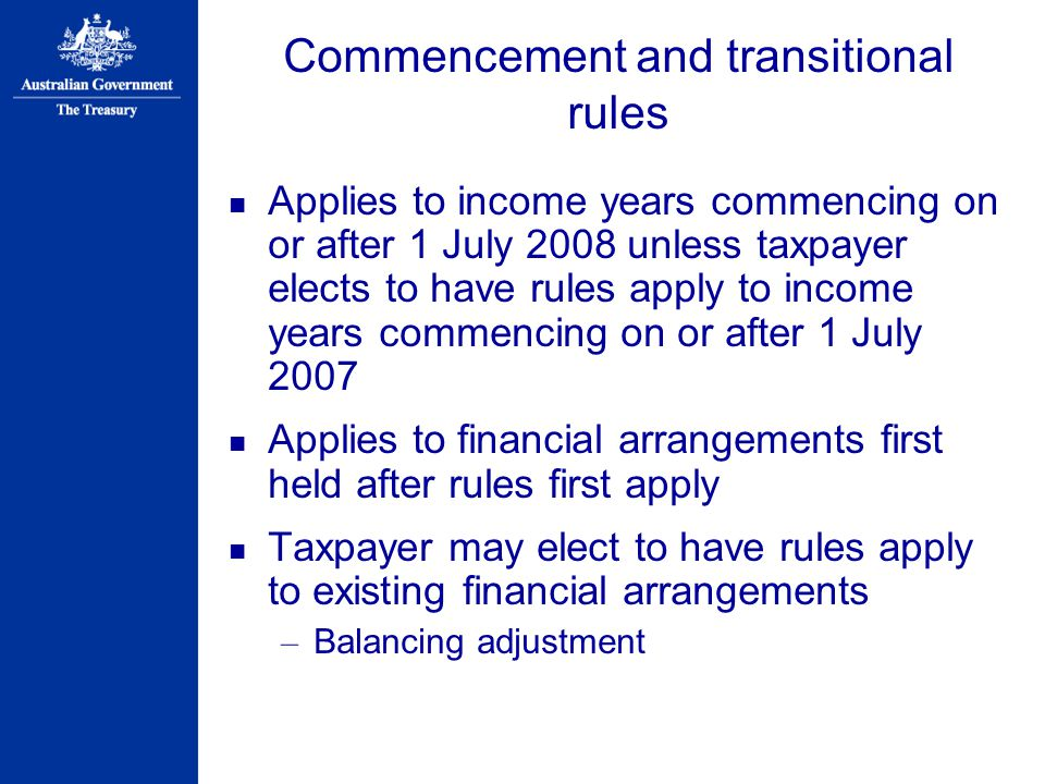Commencement and transitional rules