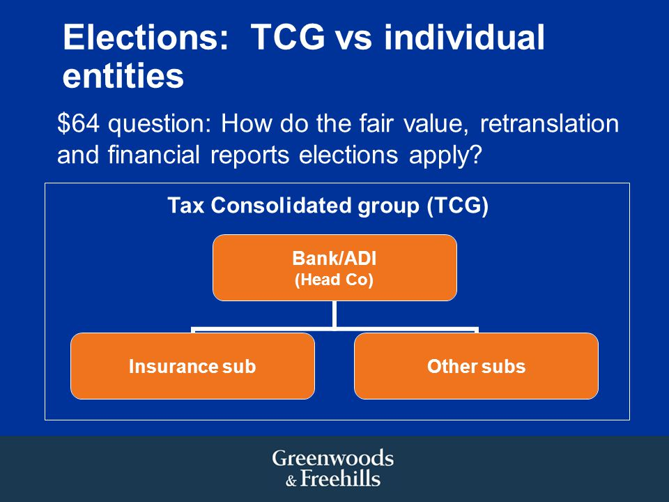 Elections: TCG vs individual entities