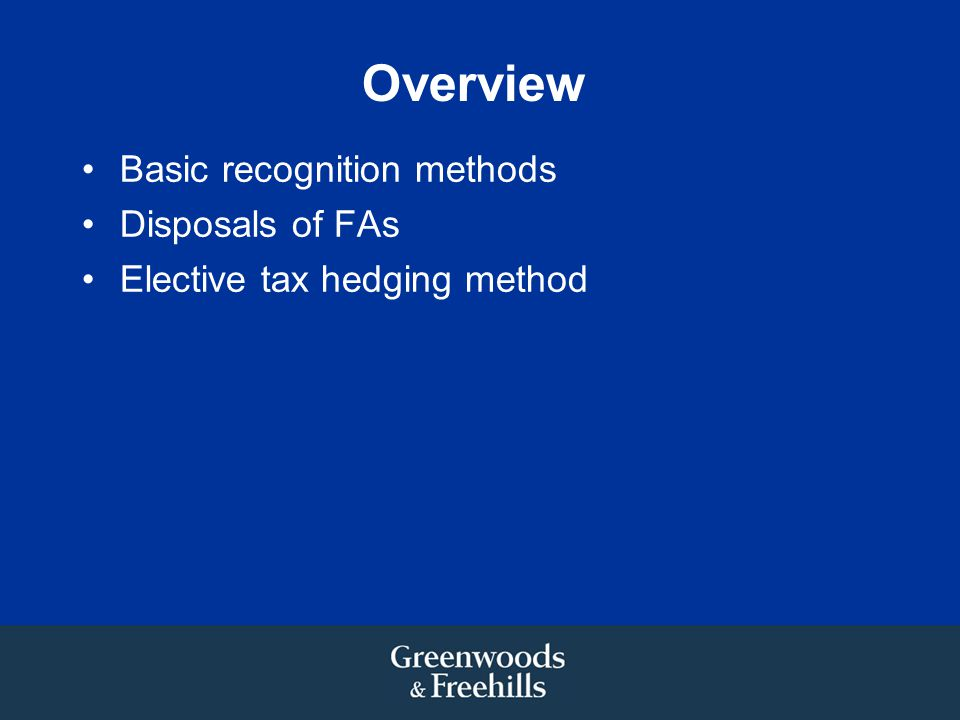 Overview Basic recognition methods Disposals of FAs