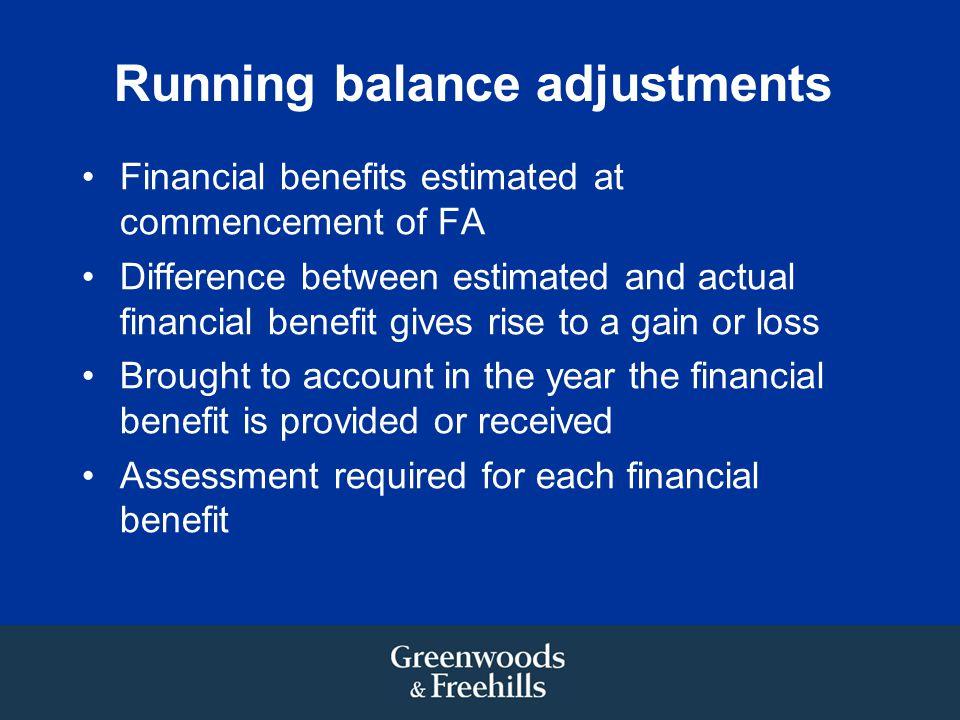 Running balance adjustments