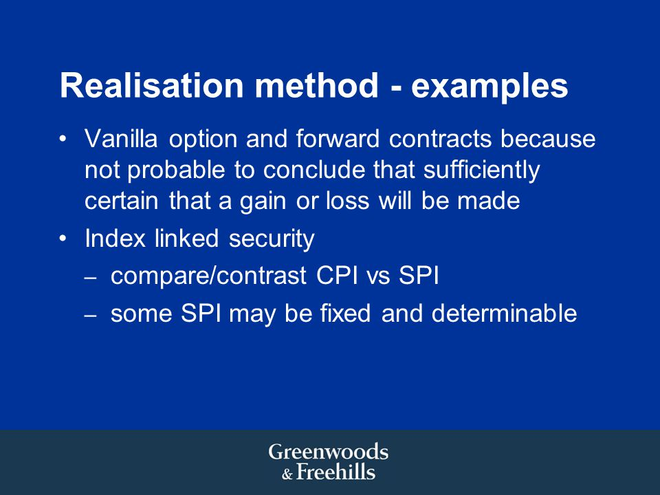 Realisation method - examples