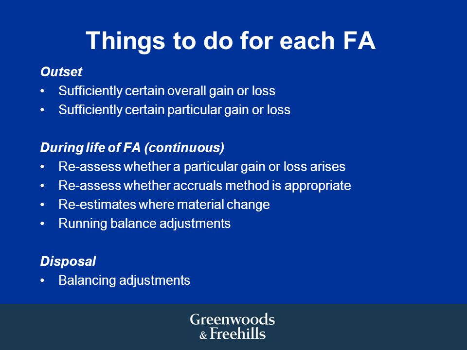 Things to do for each FA Outset