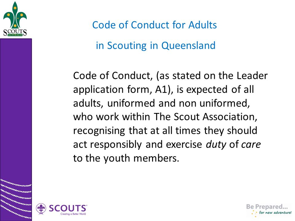 Code of Conduct for Adults in Scouting in Queensland