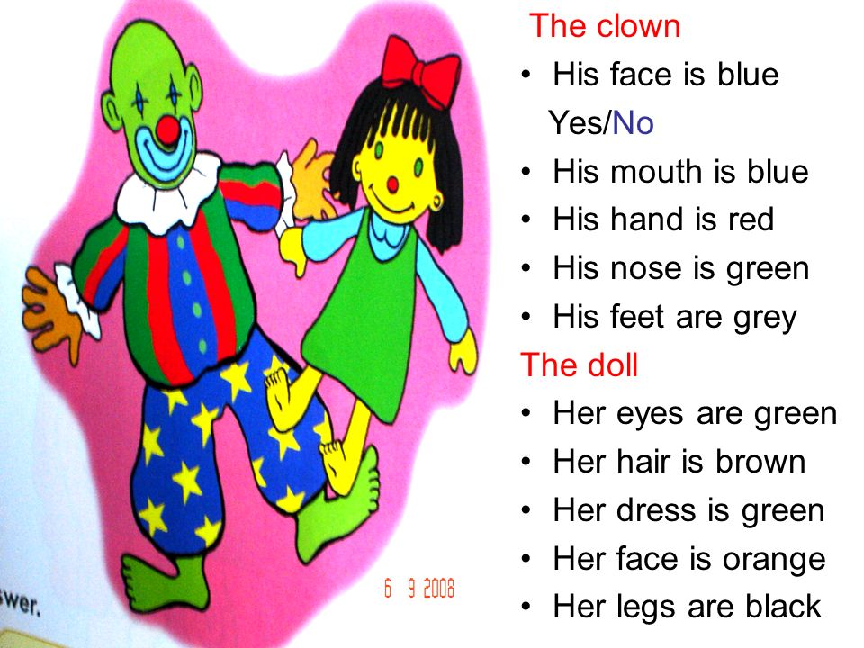 The clown His face is blue. Yes/No. His mouth is blue. His hand is red. His nose is green. His feet are grey.