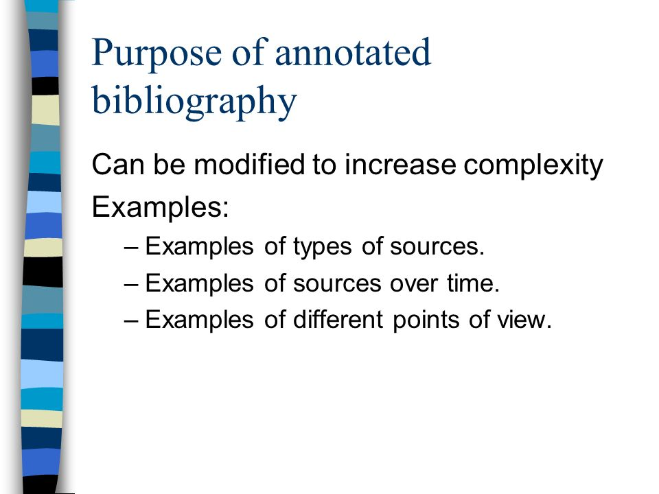 types of bibliography If the bibliography should have a title before it begins, type the title in the reference list title box the title is automatically centered on the page when.