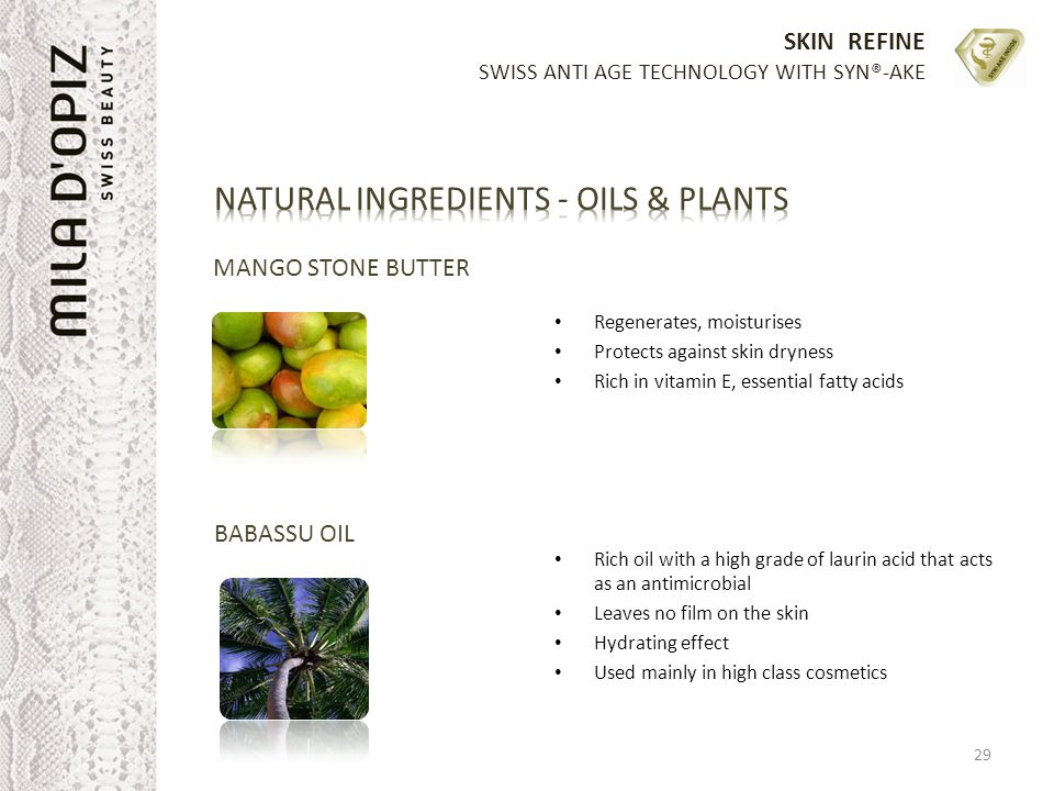 NATURAL INGREDIENTS - OILS & PLANTS