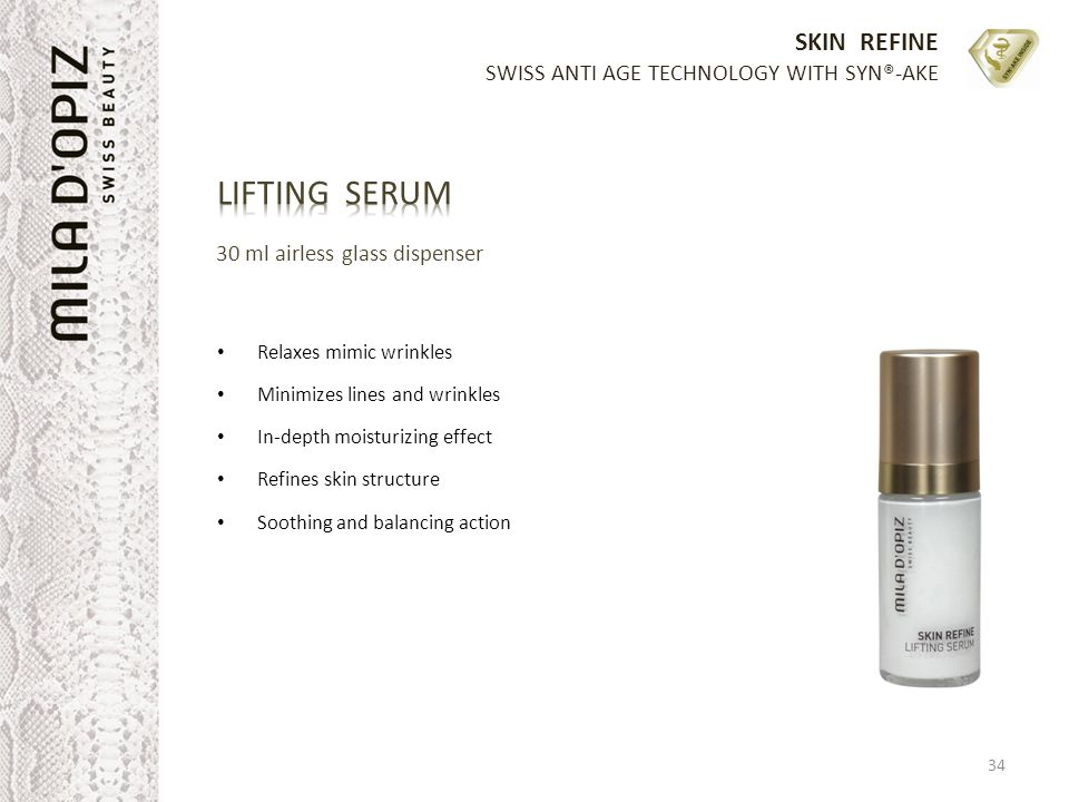 LIFTING SERUM 30 ml airless glass dispenser Relaxes mimic wrinkles