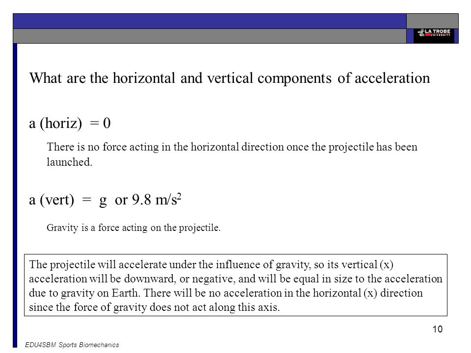 What are the horizontal and vertical components of acceleration