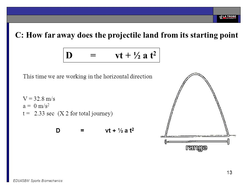 C: How far away does the projectile land from its starting point