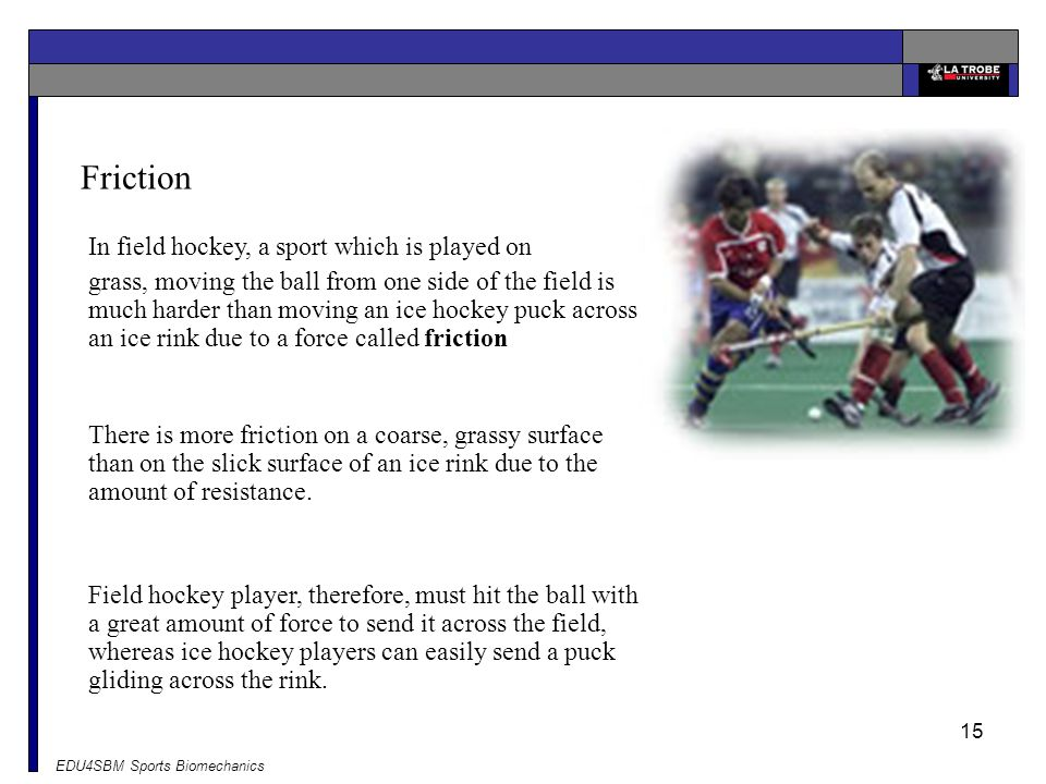 Friction In field hockey, a sport which is played on
