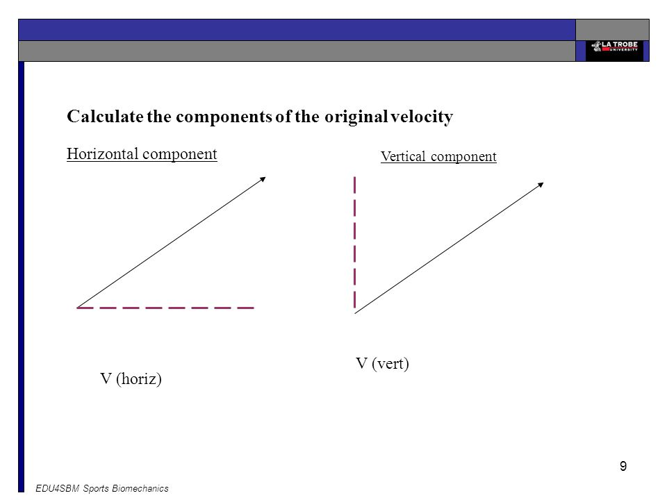 Calculate the components of the original velocity