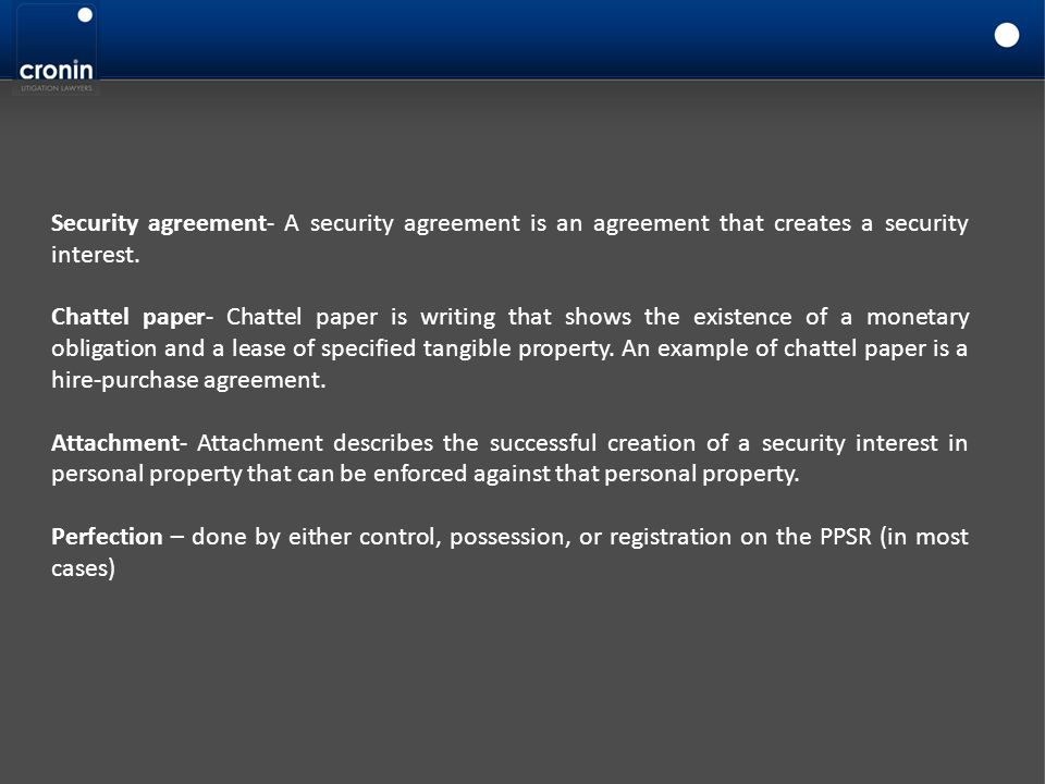 Security agreement- A security agreement is an agreement that creates a security interest.