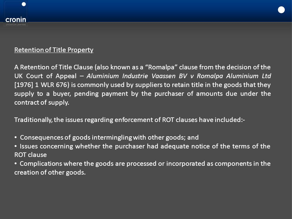 Retention of Title Property