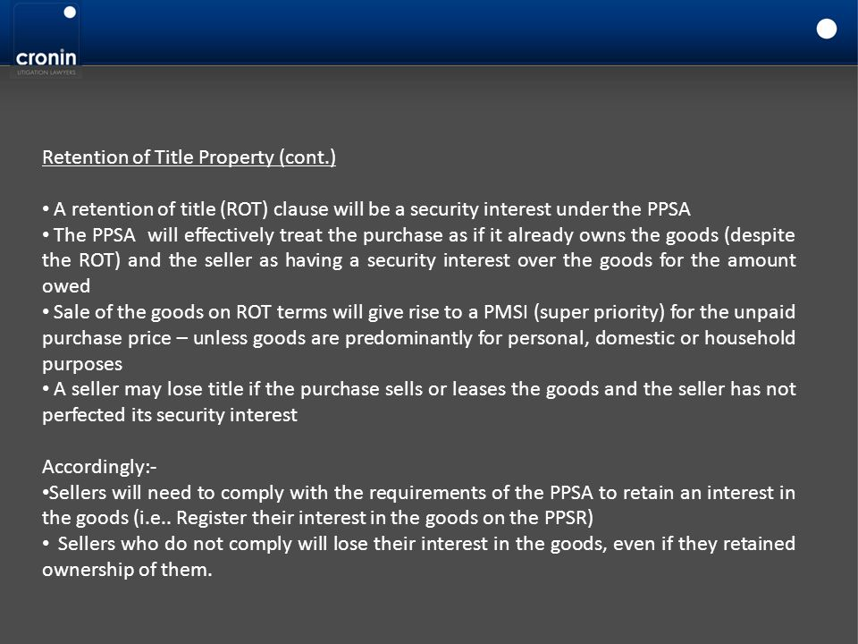Retention of Title Property (cont.)