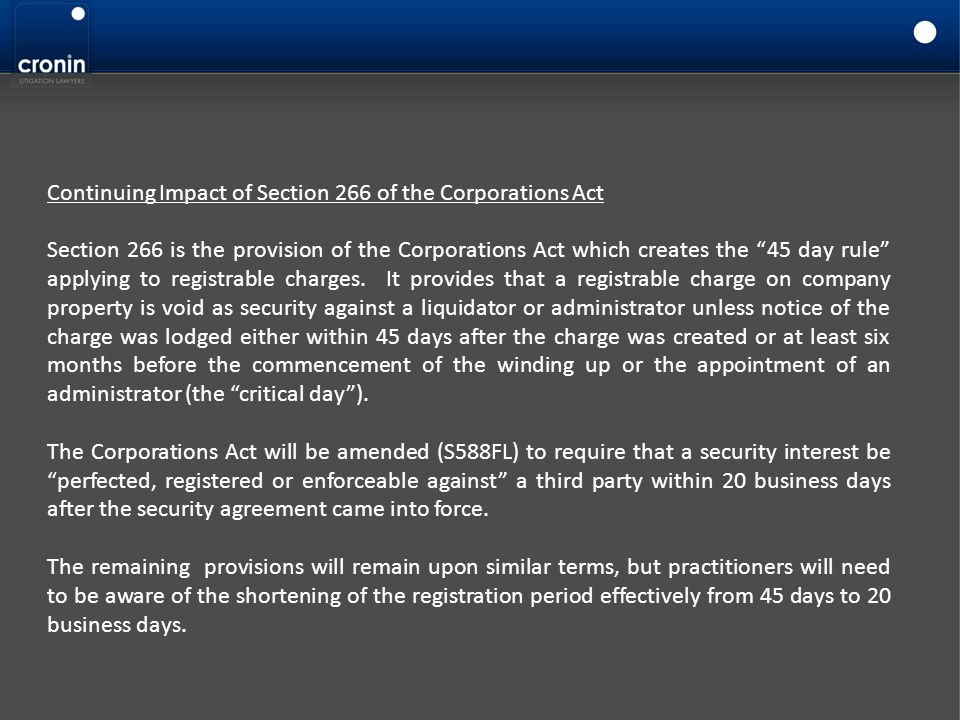 Continuing Impact of Section 266 of the Corporations Act