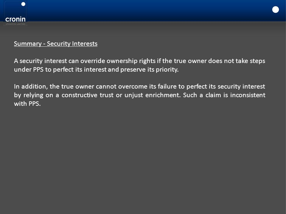 Summary - Security Interests