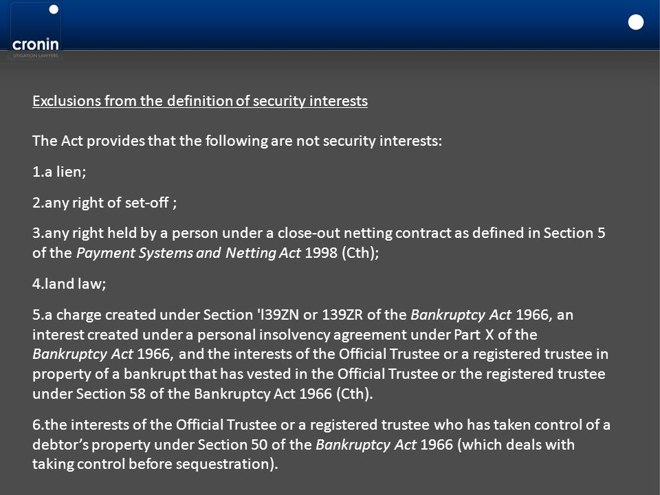 Exclusions from the definition of security interests