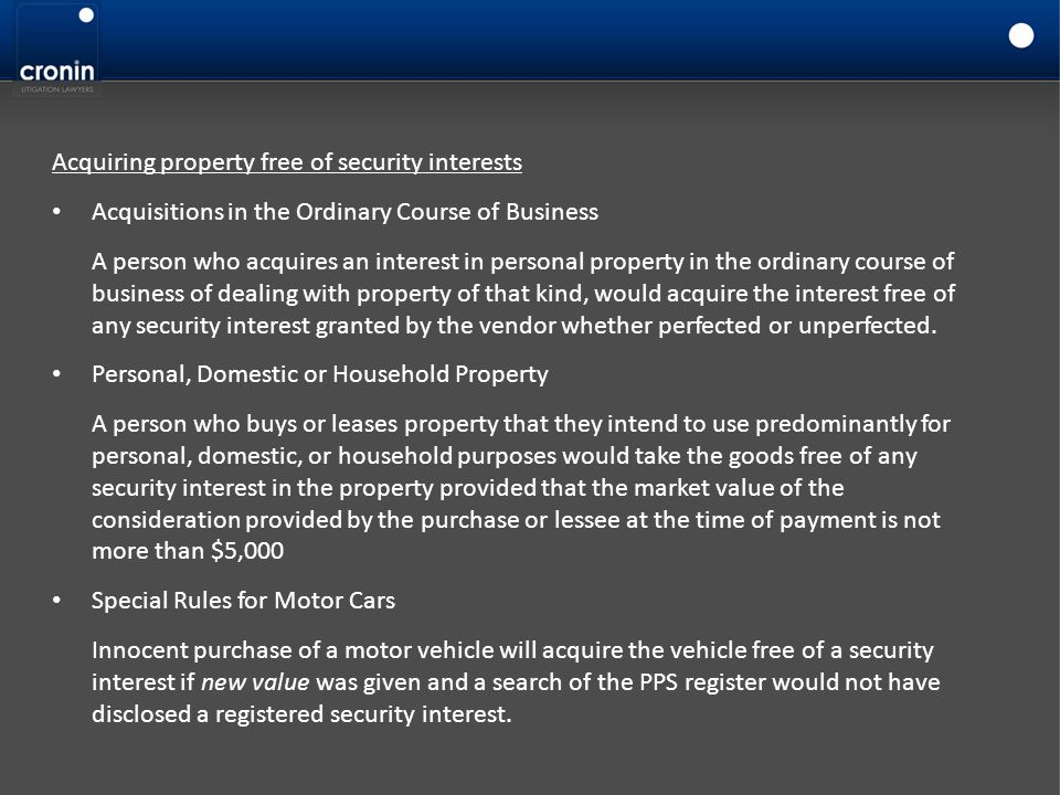 Acquiring property free of security interests