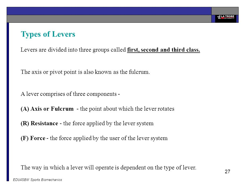 Types of Levers Levers are divided into three groups called first, second and third class. The axis or pivot point is also known as the fulcrum.