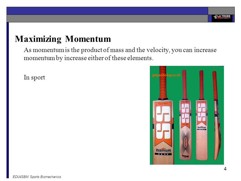 Maximizing Momentum As momentum is the product of mass and the velocity, you can increase momentum by increase either of these elements.