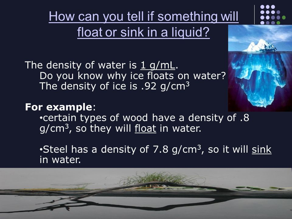 How can you tell if something will float or sink in a liquid
