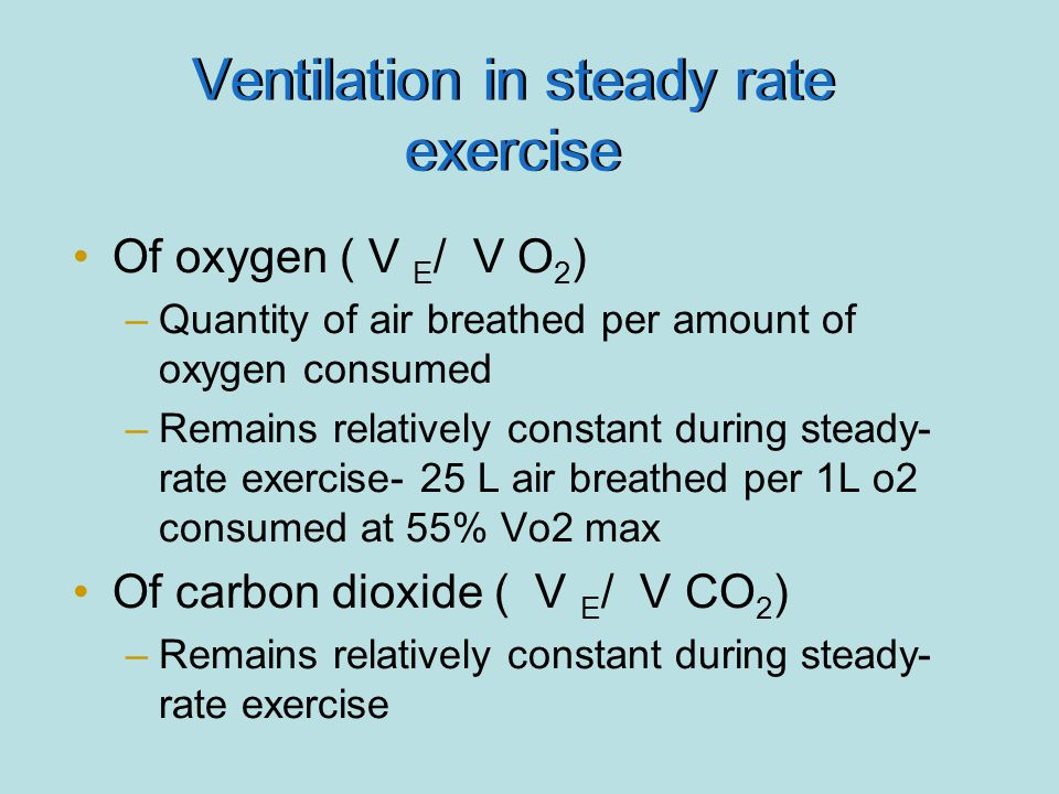 Ventilation in steady rate exercise