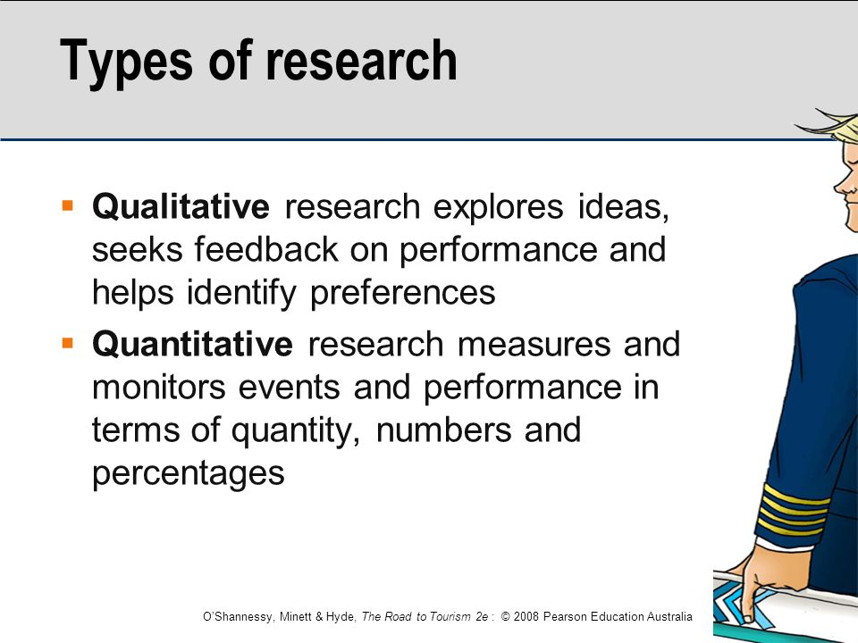 Types of research Qualitative research explores ideas, seeks feedback on performance and helps identify preferences.