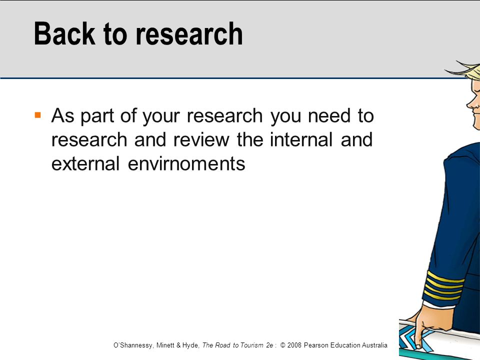 Back to research As part of your research you need to research and review the internal and external envirnoments.