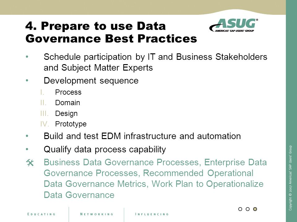 4. Prepare to use Data Governance Best Practices