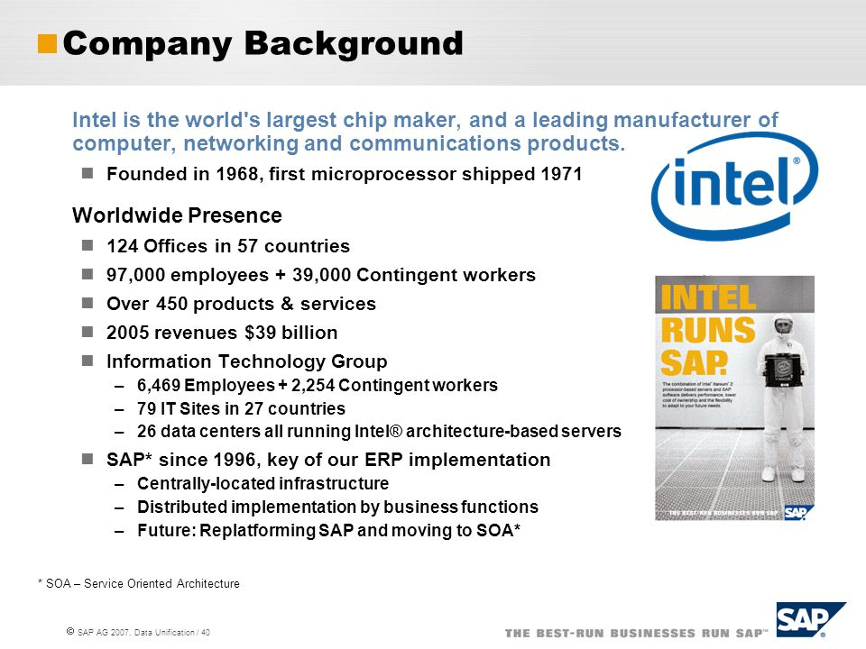 Company Background Intel is the world s largest chip maker, and a leading manufacturer of computer, networking and communications products.