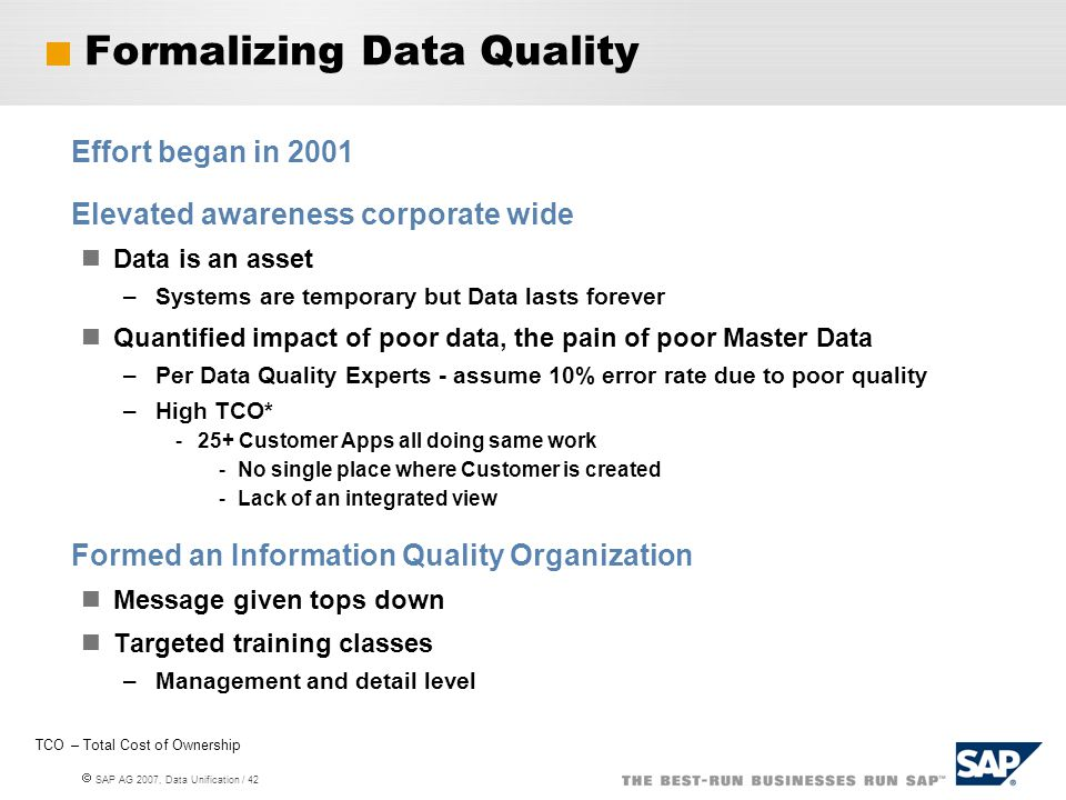 Formalizing Data Quality