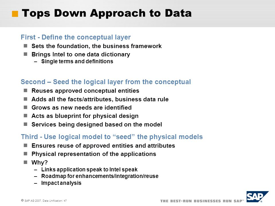 Tops Down Approach to Data