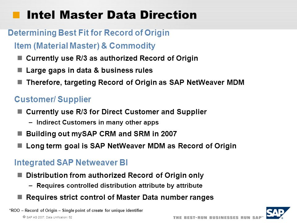Intel Master Data Direction