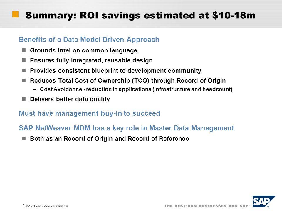 Summary: ROI savings estimated at $10-18m