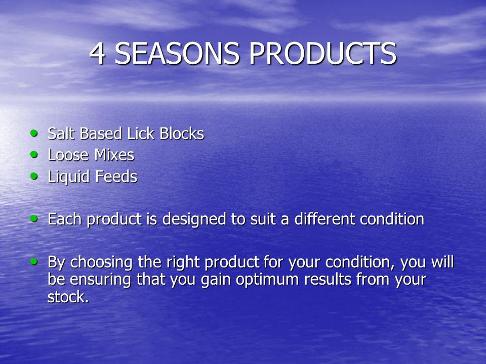 4 SEASONS PRODUCTS Salt Based Lick Blocks Loose Mixes Liquid Feeds