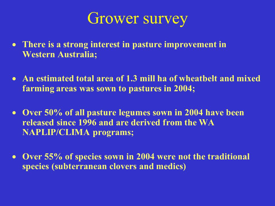 Grower survey There is a strong interest in pasture improvement in Western Australia;