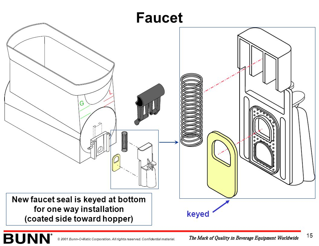 Faucet New faucet seal is keyed at bottom for one way installation (coated side toward hopper)
