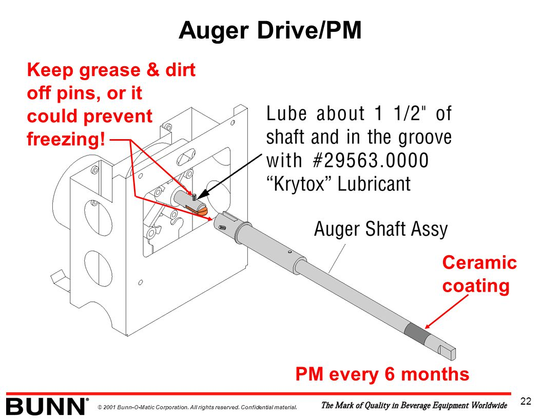 Auger Drive/PM Keep grease & dirt off pins, or it could prevent freezing.