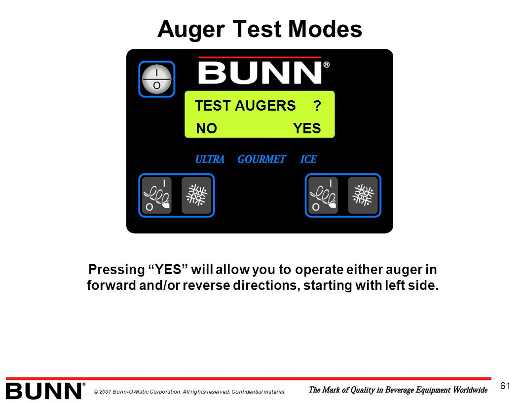 Auger Test Modes TEST AUGERS NO YES