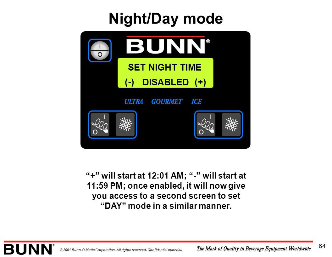 Night/Day mode SET NIGHT TIME (-) DISABLED (+)