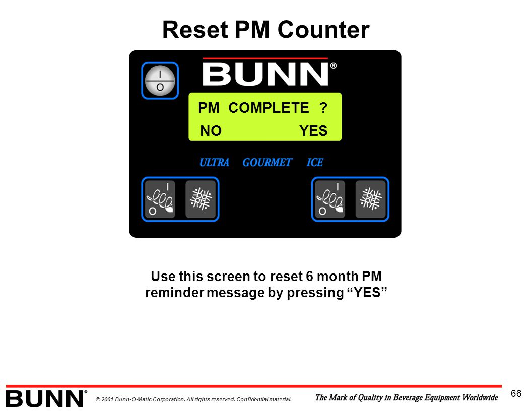 Use this screen to reset 6 month PM reminder message by pressing YES