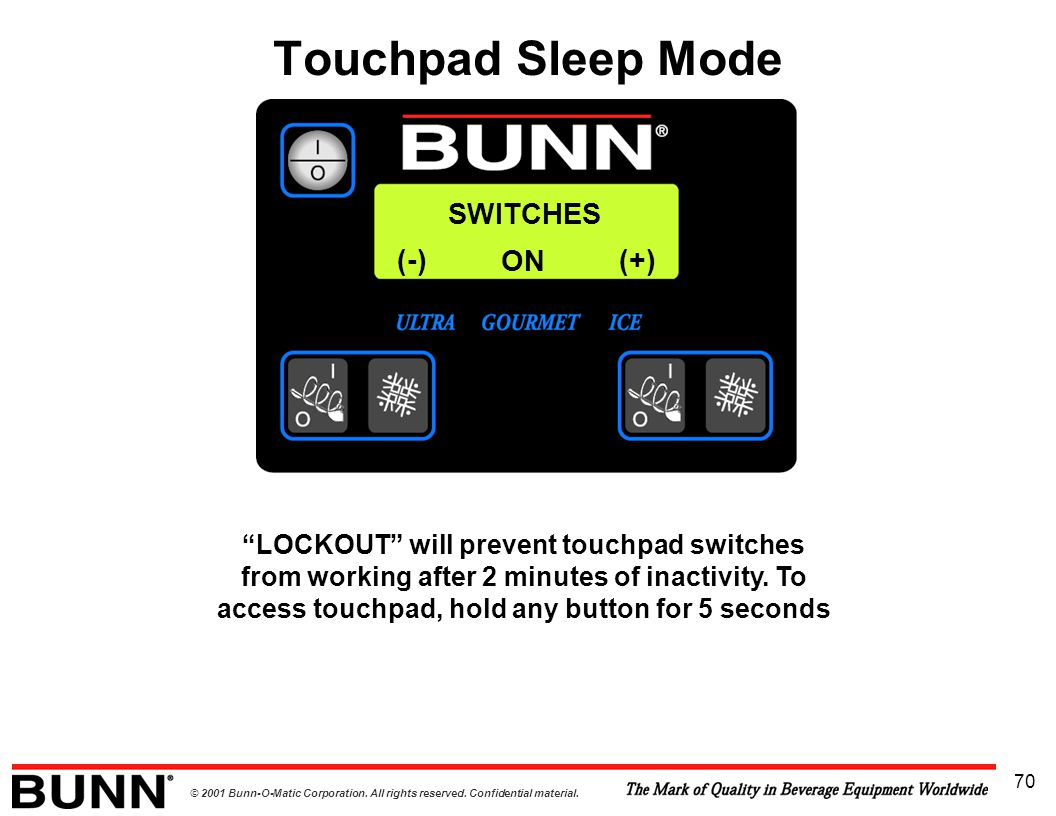 Touchpad Sleep Mode SWITCHES (-) ON (+)