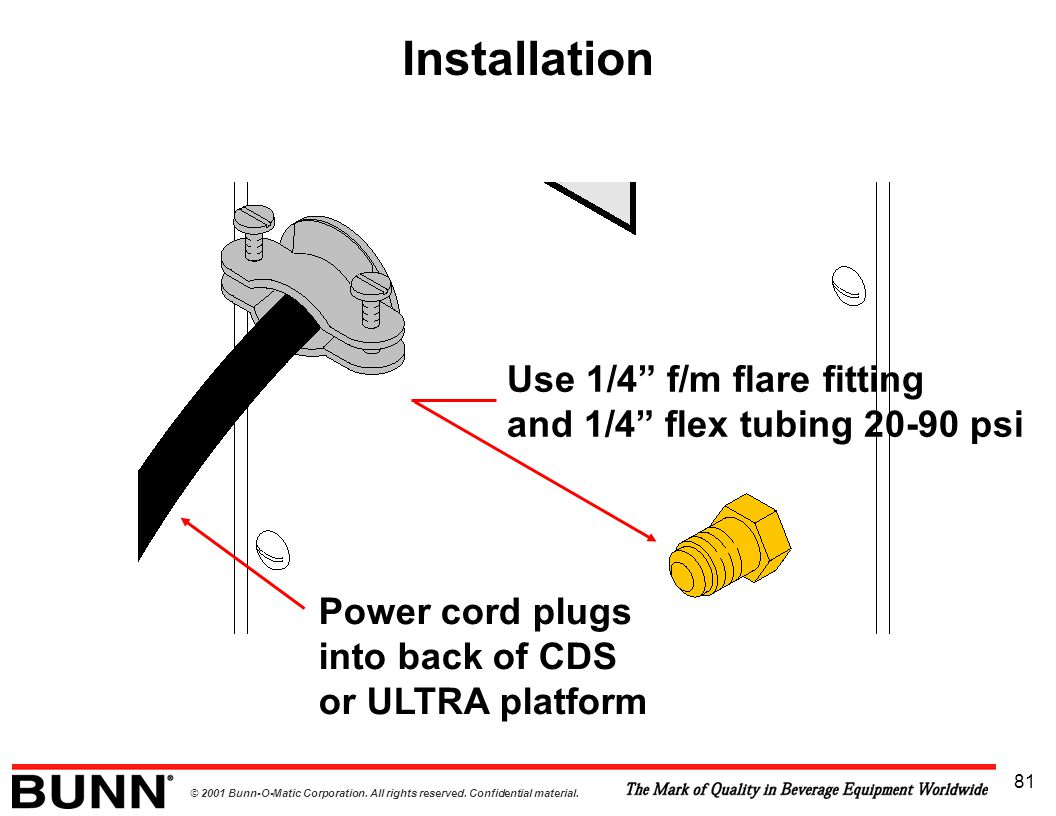 Installation Use 1/4 f/m flare fitting and 1/4 flex tubing 20-90 psi