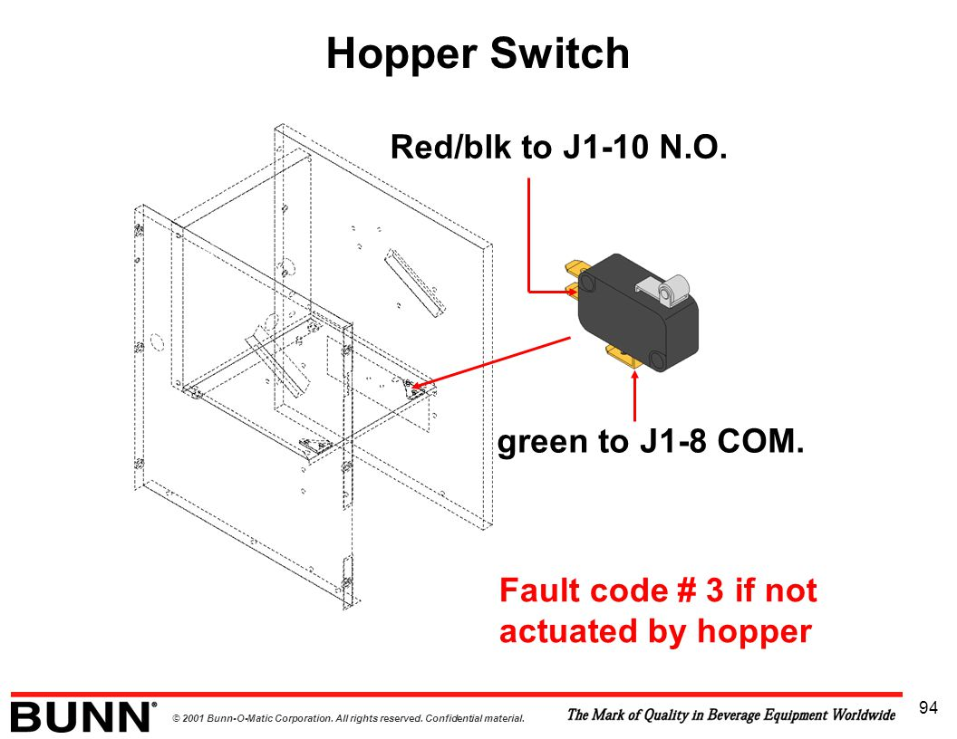 Hopper Switch Red/blk to J1-10 N.O. green to J1-8 COM.