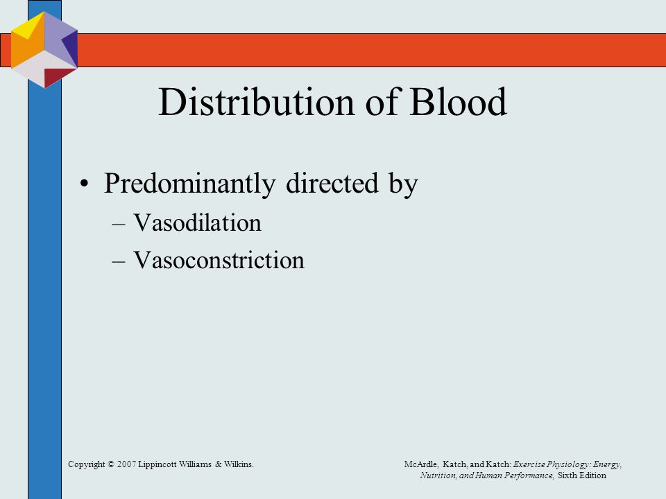 Distribution of Blood Predominantly directed by Vasodilation
