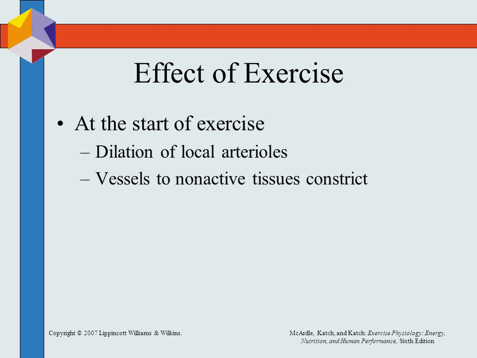 Effect of Exercise At the start of exercise